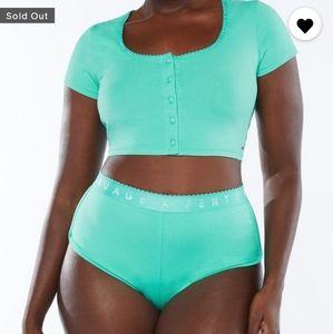 Savage X Fenty Green Lagoon Hot Shorts & Crop Top